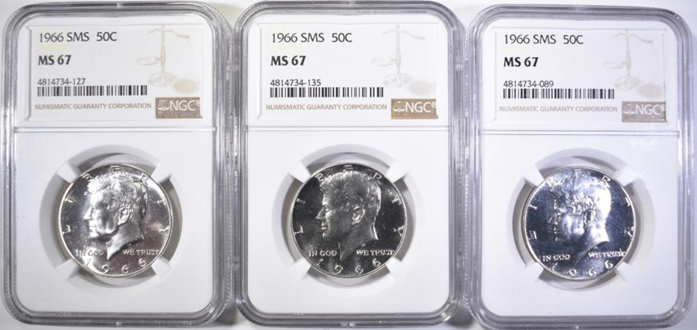 Lot 331: (3) 1966 SMS KENNEDY HALVES NGC MS 67