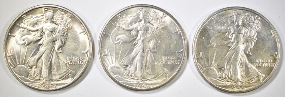Lot 336: 3 - 1944-S WALKING LIBERTY HALF DOLLARS