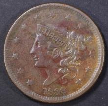 Lot 365: 1838 LARGE CENT, XF/AU