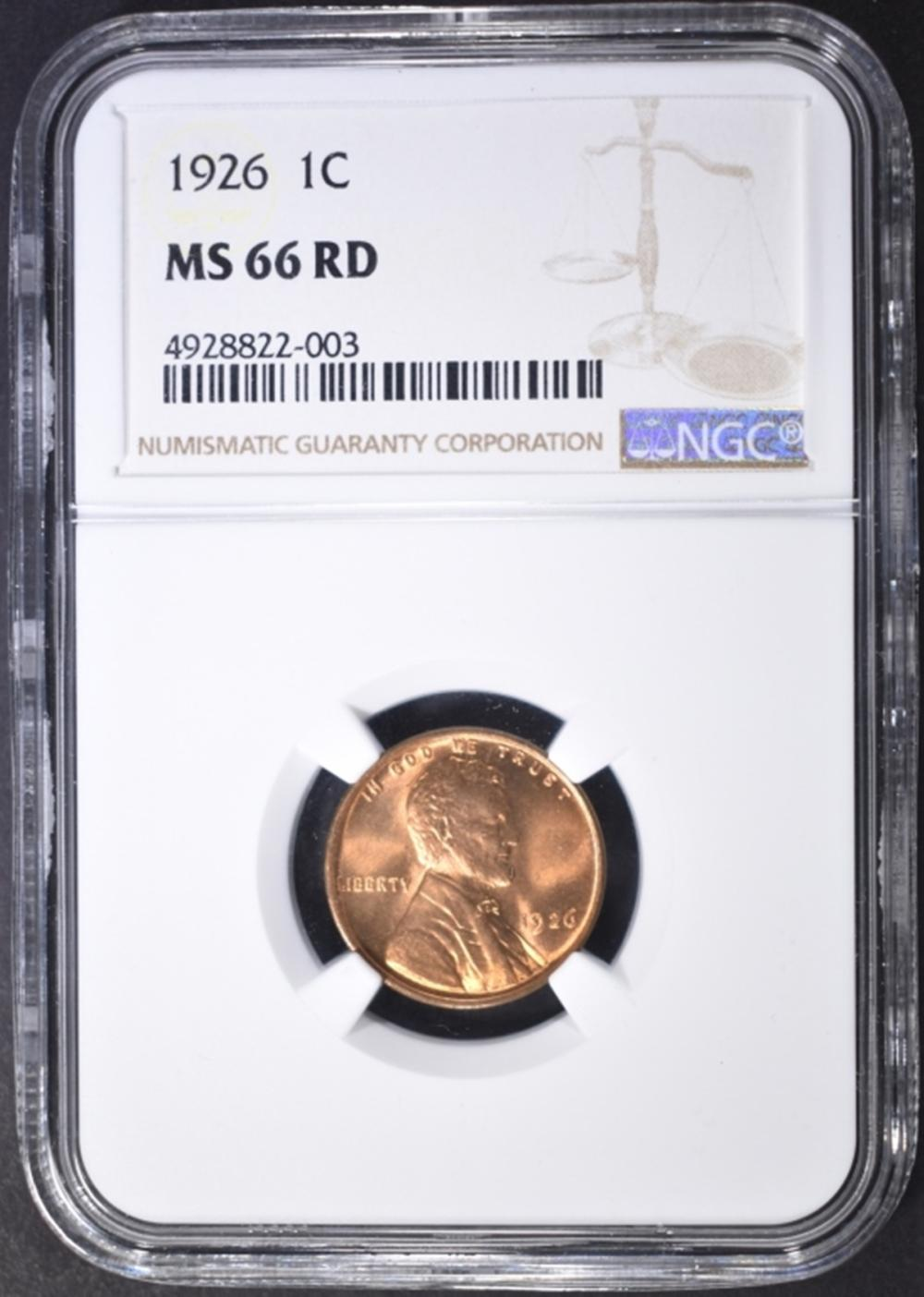 Lot 377: 1926 LINCOLN CENT NGC MS-66 RD
