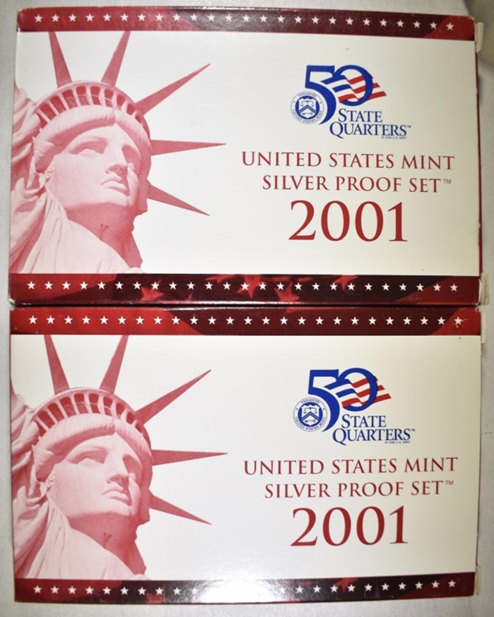 Lot 401: 2-2001 U.S. SILVER PROOF SETS ORIG PACKAGING