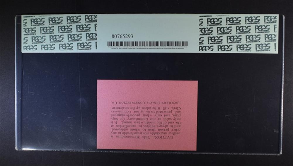 Lot 424: $1 COMMISSARY SCRIP 1890 LOCKHART SHOALS