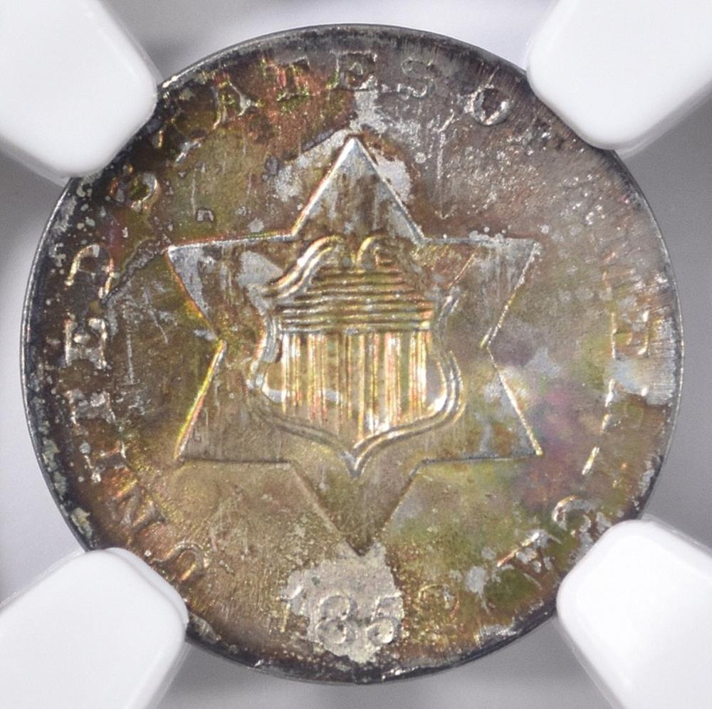 Lot 428: 1852 3-CENT SILVER, NGC MS-67 RAINBOW COLORS