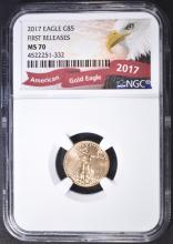 Lot 450: 2017 EAGLE G$5 FIRST RELEASE NGC MS70