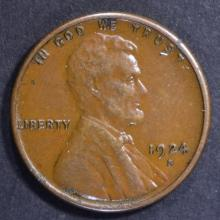 Lot 458: 1924-S LINCOLN CENT, XF/AU
