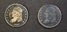 Lot 465: 1835 & 1837 BUST HALF DIMES, FINE