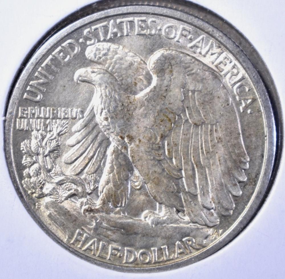 Lot 481: 1917-S REVERSE WALKING LIBERTY HALF DOLLAR, CH BU