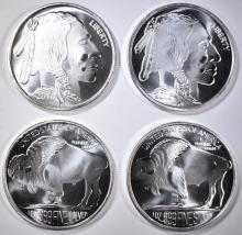 Lot 487: 10-ONE OUNCE .999 SILVER ROUNDS BUFFALO/INDIAN