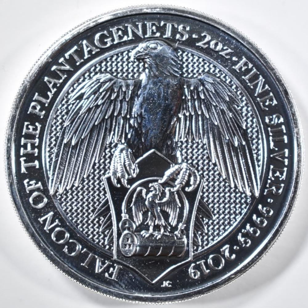 Lot 496: 2019 QUEENS BEAST 2oz SILVER FALCON COIN