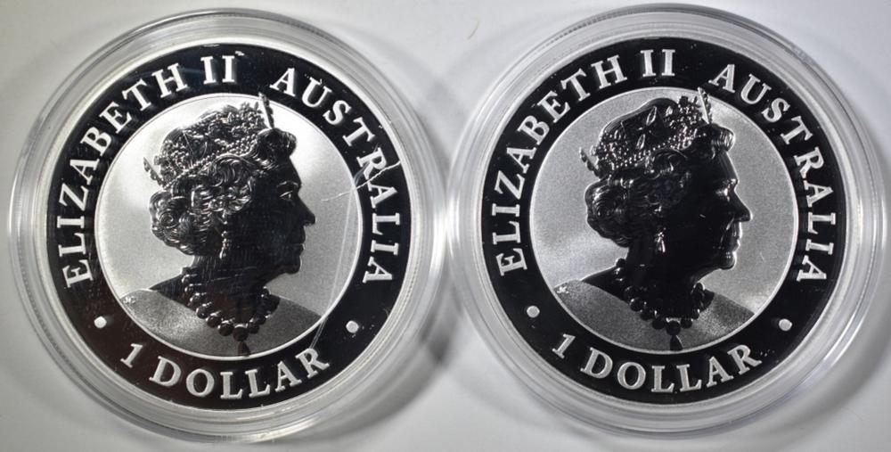 Lot 495: 2-2019 AUSTRAILIAN 1oz SILVER KOOKABURRA COINS