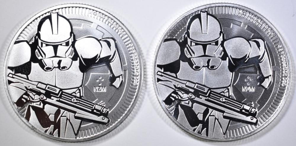 Lot 493: 2-2019 NIUE 1oz SILVER CLONE TROOPER COINS