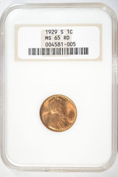 1929S Lincoln penny NGC65RED RARE RARE
