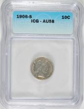 1906-S BARBER SILVER DIME ICG AU-58