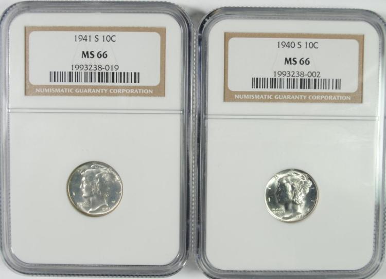 1940-S & 1941-S MERCURY DIMES, NGC MS66