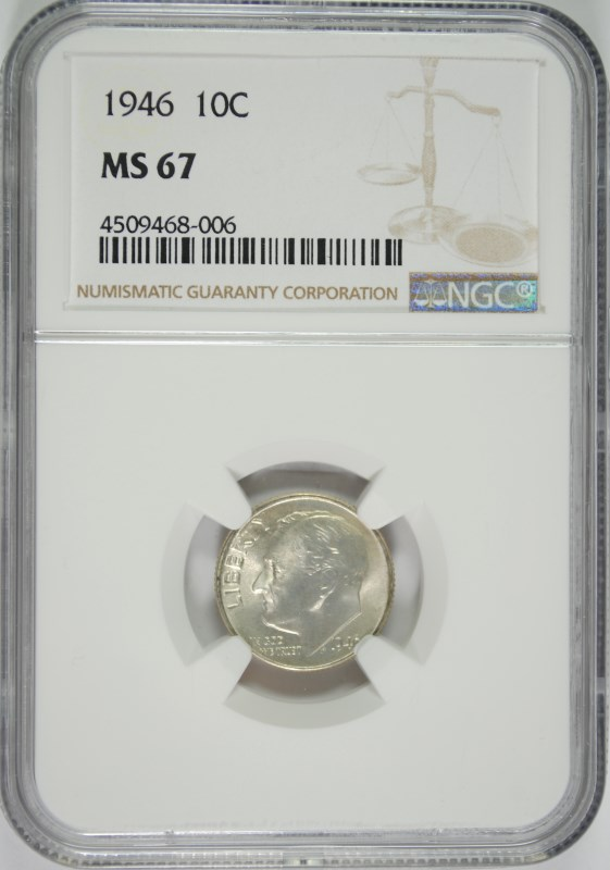 1946 ROOSEVELT DIME, NGC MS-67