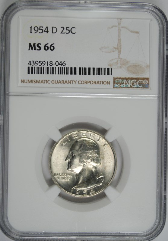 1954-D WASHINGTON QUARTER, NGC MS-66  BETTER DATE, NGC PRICE GUIDE=$90.00