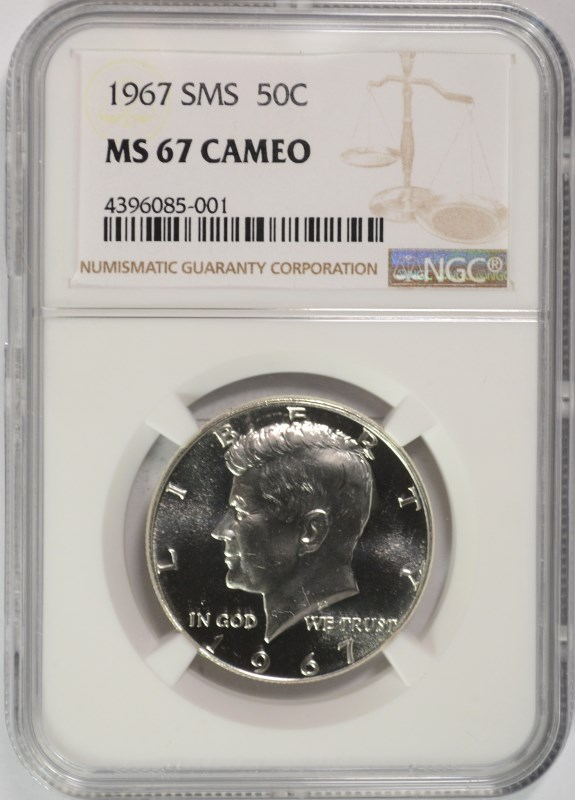 1967 SMS KENNEDY HALF DOLLAR, NGC MS-67 CAMEO!