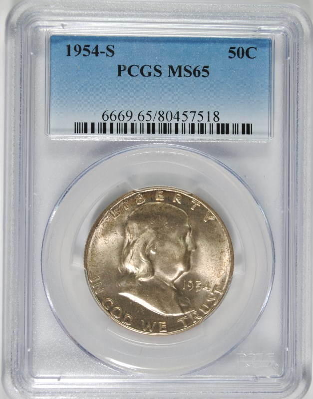 1954-S FRANKLIN HALF DOLLAR, PCGS MS-65