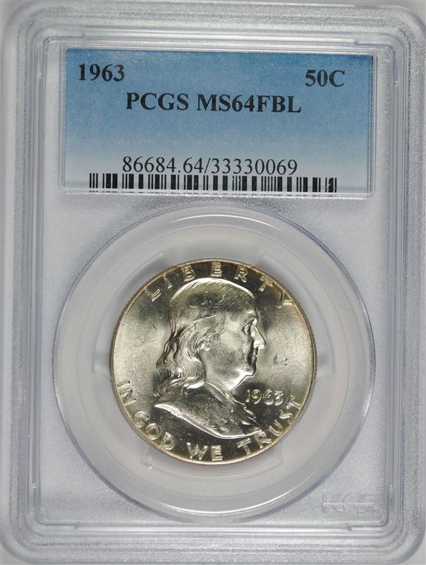1963 FRANKLIN HALF DOLLAR, PCGS MS-64 FBL  RARE!!