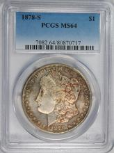 1878-S MORGAN SILVER DOLLAR, PCGS MS-64  BETTER DATE