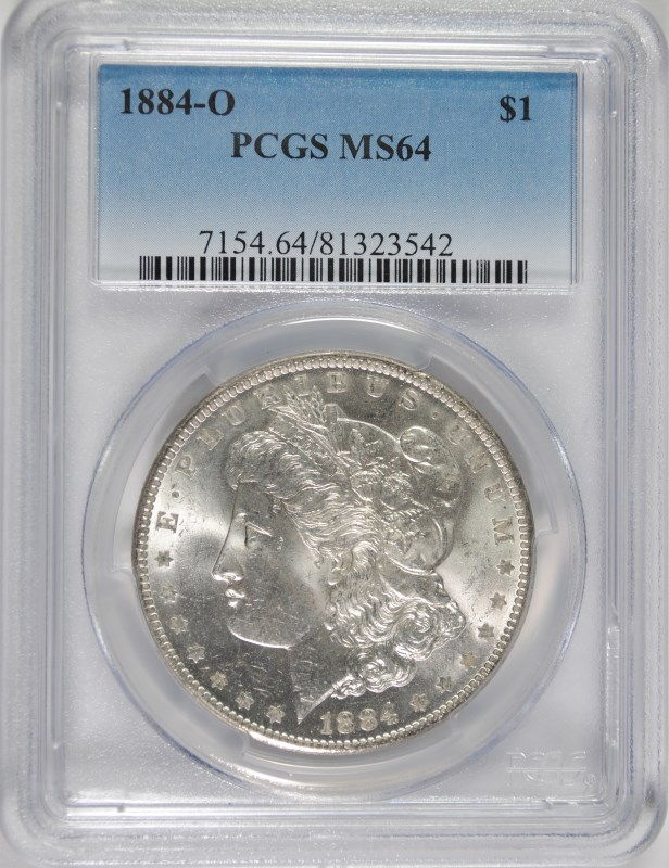 1884-O MORGAN SILVER DOLLAR, PCGS  MS-64