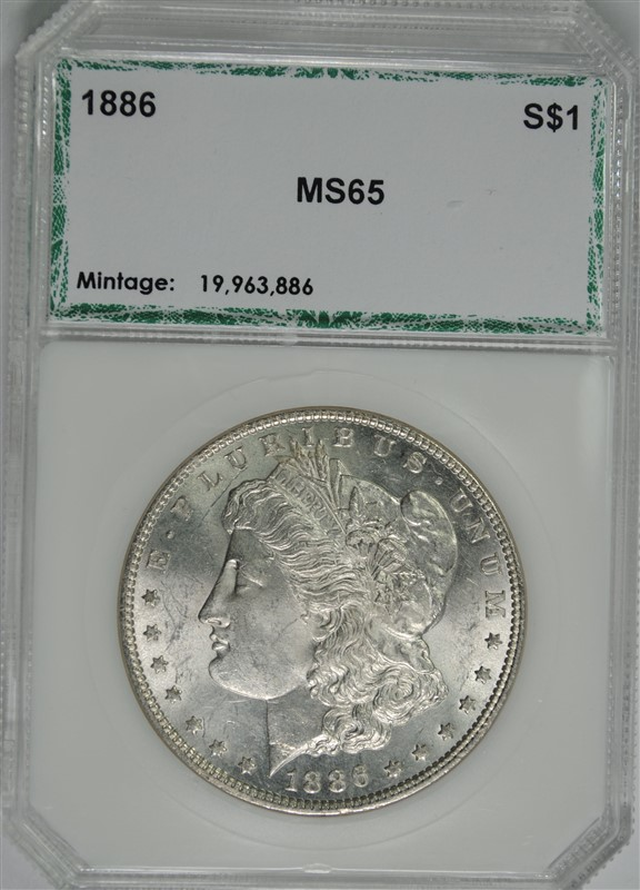 1886 MORGAN SILVER DOLLAR, PCI GEM BU