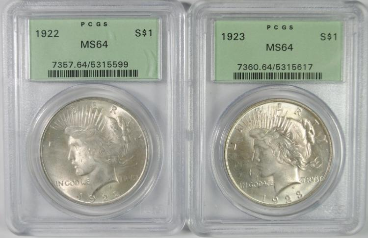 1922 & 1923 PEACE SILVER DOLLARS, PCGS MS64 - OLD GREEN HOLDERS!