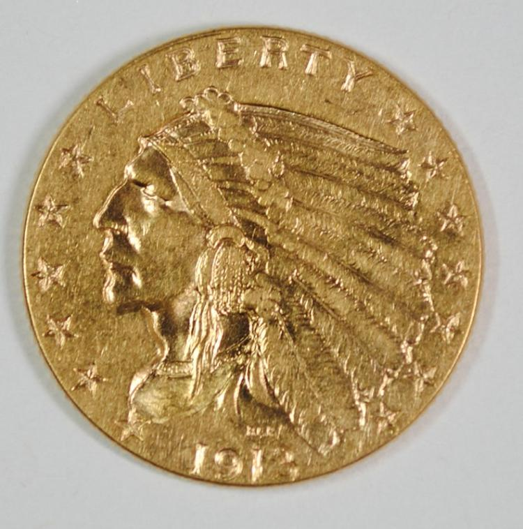 1913 $2.50 GOLD INDIAN HEAD, CHOICE BU