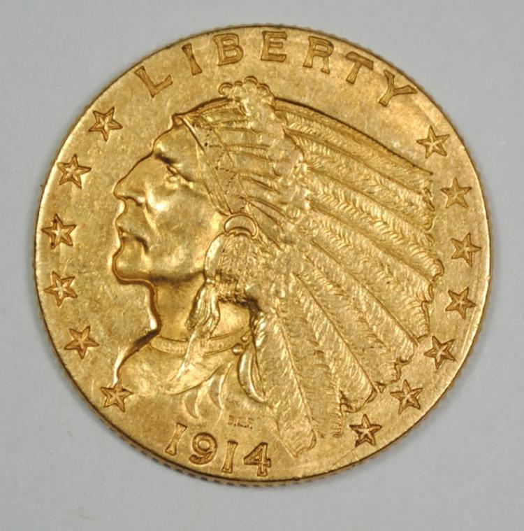 1914-D $2.50 GOLD INDIAN, CHOICE BU BETTER DATE