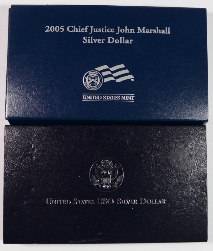 U.S. COMMEM SETS; 1991 U.S.O. PRF SILVER DOLLAR & 2005 MARSHALL SILVER DOLLAR