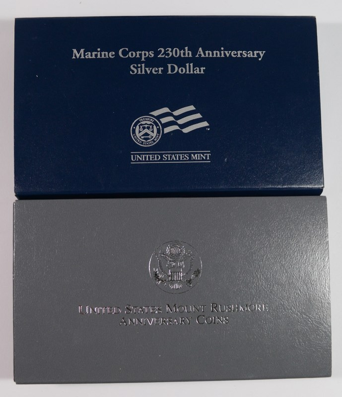 U.S. COMMEM SETS; 1991 MT RUSHMORE 2pc Prf & 2005 MARINE SILVER DOLLAR