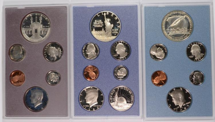 U.S. PRESTIGE SETS; 1984, 1986, 1987 - NO BOX/COA