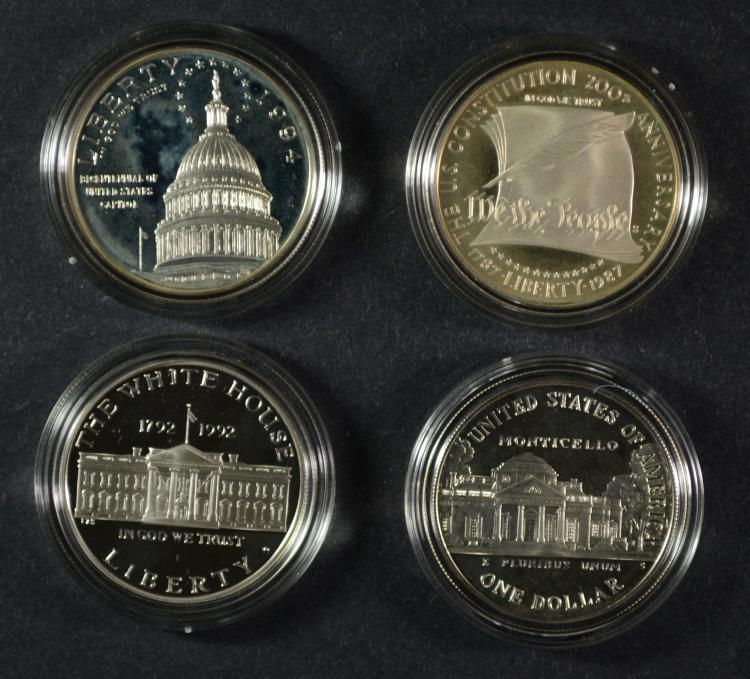 COMMEM SILVER DOLLAR PROOFS- 1987 CONSTITUTION, 1993 JEFFERSON, 1994 CAPITOL
