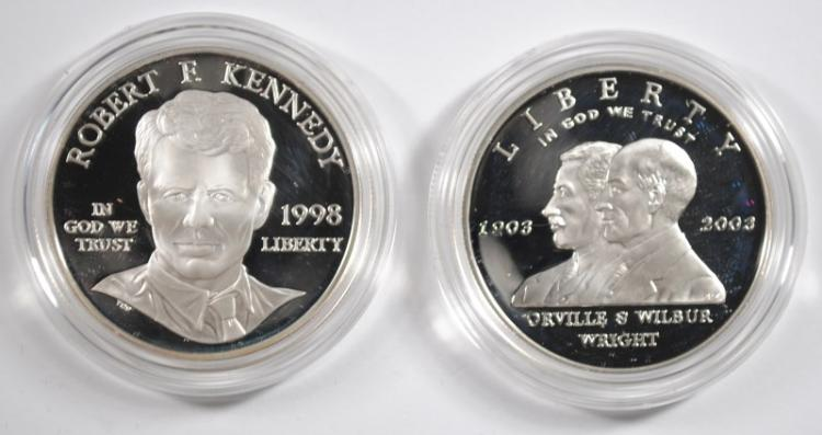 2-PROOF U.S. COMMEM SILVER DOLLARS BOXES/COA: FIRST FLIGHT & ROBERT F KENNEDY