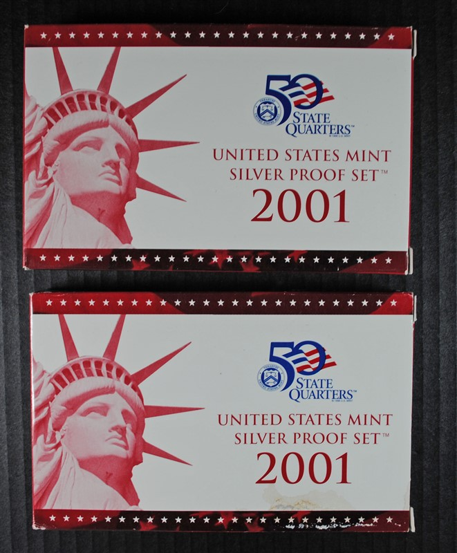 2 - 2001 U.S. SILVER PROOF SETS - BOX / COA
