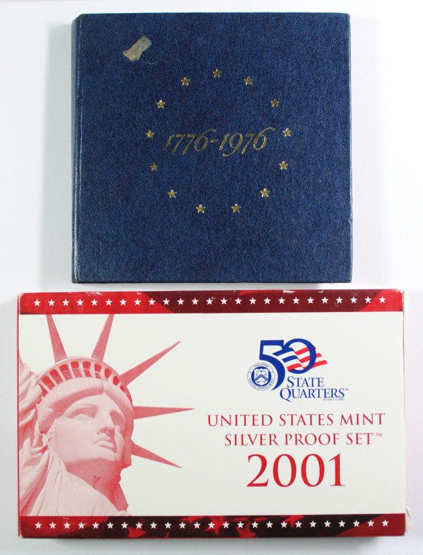 1976 3-PIECE 40% SILVER BICENTENNIAL & 2001 SILVER PROOF SETS