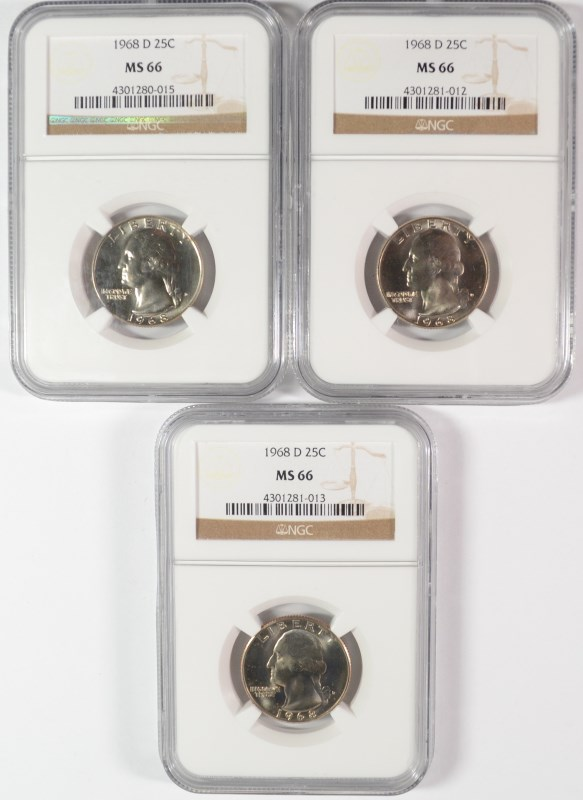 (3) 1968-D WASHINGTON QUARTERS NGC MS66 SUPER