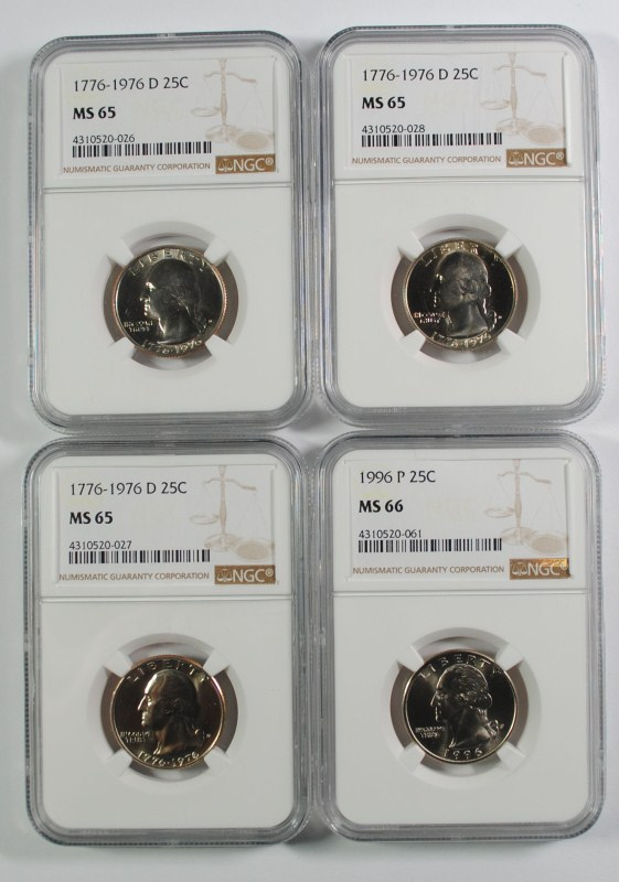 ( 4 ) NGC GRADED WASHINGTON QUARTERS: 1996 MS-66! & 3-1976-D MS-65