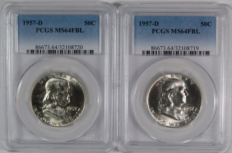 2 - 1957-D FRANKLIN HALF DOLLARS PCGS MS64FBL