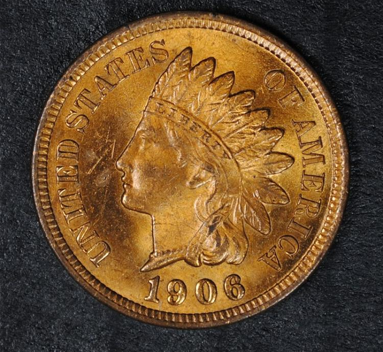 1906 INDIAN CENT, GEM BU RED!