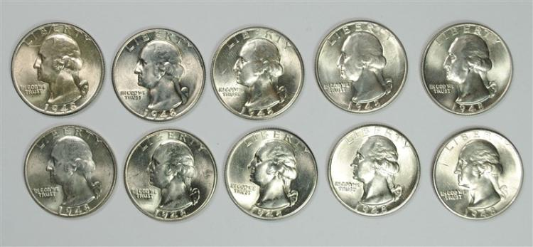 ( 10 ) GEM BU 1948-D WASHINGTON QUARTERS
