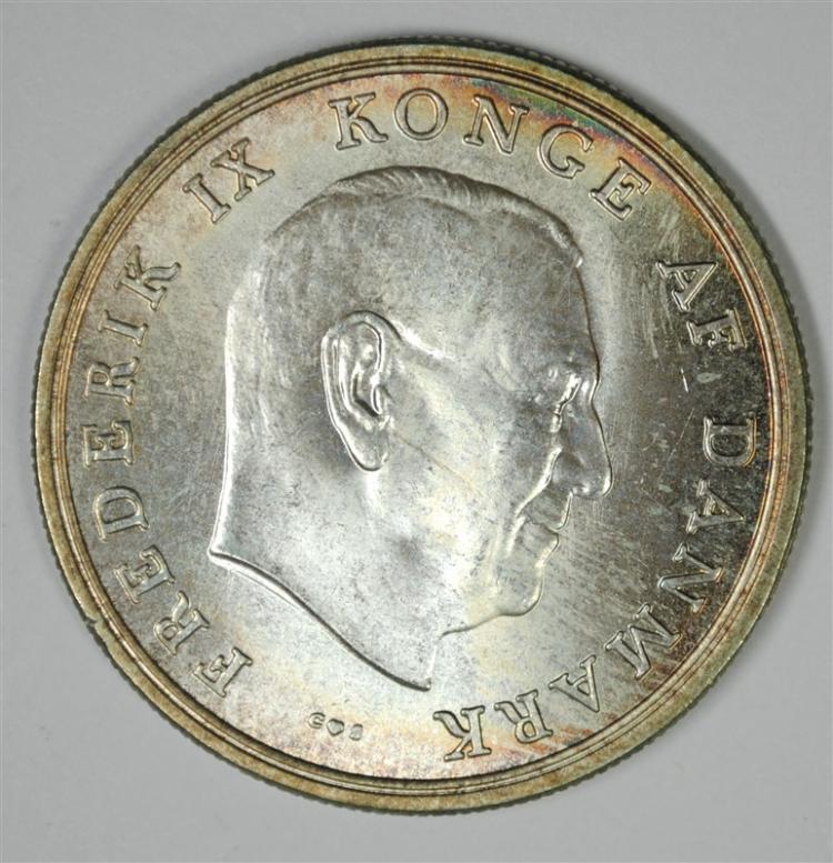 1964 Denmark, 5 Kroner, 80% Silver, .4372 ozt, KM #854
