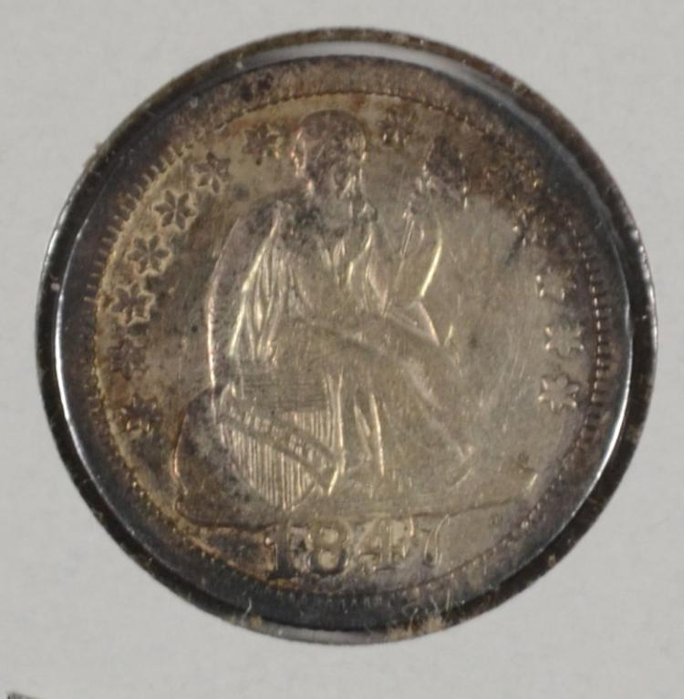 1847 SEATED LIBERTY DIME CH AU