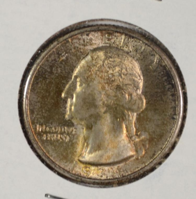 1934 WASHINGTON QUARTER GEM BU BURNT ORANGE ORIGINAL TONE