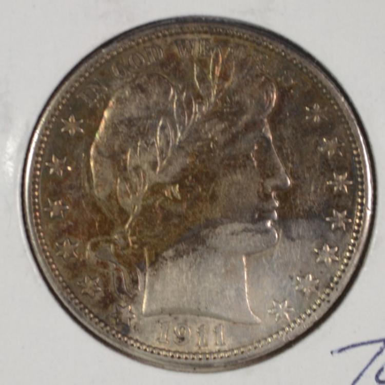 1911 BARBER HALF DOLLAR AU  NICE RED-GREEN ARC TONE