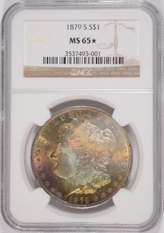 1879 S MORGAN SILVER DOLLAR NGC MS 65*  WILD GREEN, BLUE, RED &