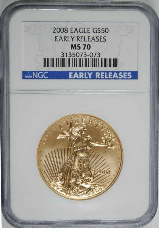 2008 $50 GOLD EAGLE NGC MS 70 PERFECT GRADE