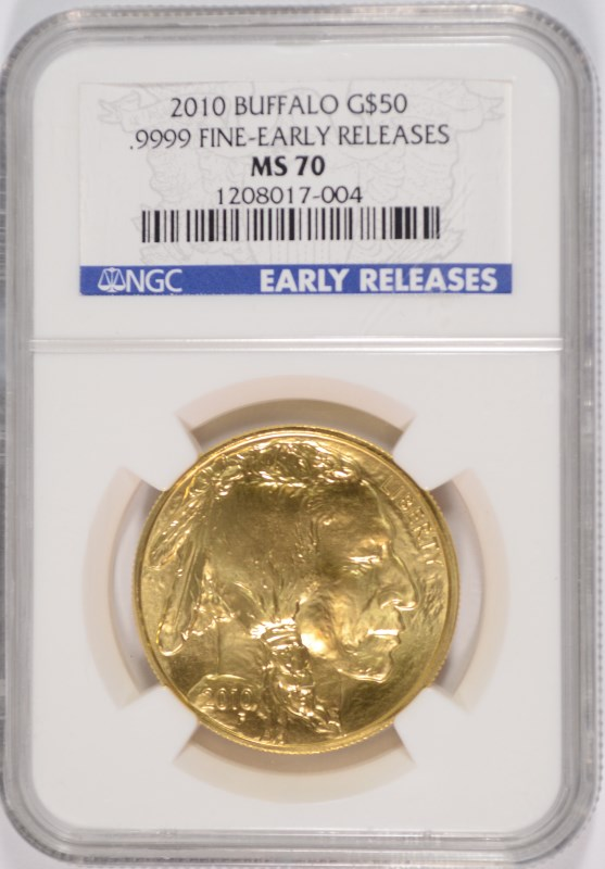 2010 $50 GOLD BUFFALO NGC MS 70 PERFECT GRADE