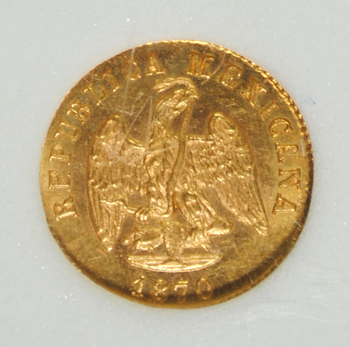 1870 MO GOLD PESO MEXICO NNC GEM UNC  SCARCE