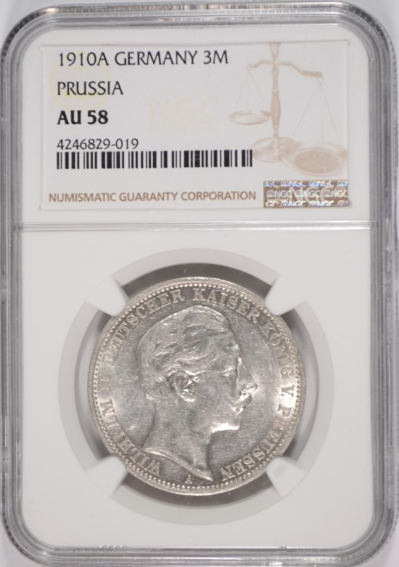1910A GERMANY SILVER 3 MARKS PRUSSIA NGC AU 58  BLAST WHITE